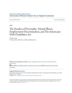 The Paradox of Personality: Mental Illness, Employment Discrimination, and The Americans With Disabilities Act