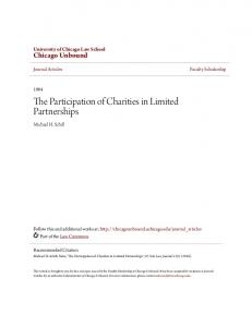 The Participation of Charities in Limited Partnerships