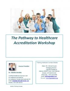 The Pathway to Healthcare Accreditation Workshop