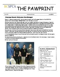THE PAWPRINT. Shuswap Branch Welcomes New Manager