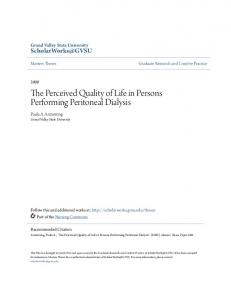 The Perceived Quality of Life in Persons Performing Peritoneal Dialysis