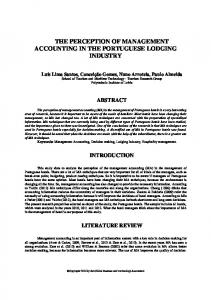 THE PERCEPTION OF MANAGEMENT ACCOUNTING IN THE PORTUGUESE LODGING INDUSTRY