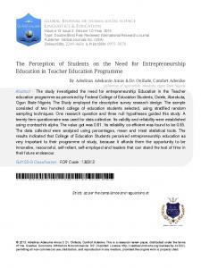 The Perception of Students on the Need for Entrepreneurship Education in Teacher Education Programme
