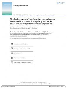 The Performance of the Canadian spectral ocean wave model (CSOWM) during the grand banks ERS 1 SAR wave spectra validation experiment