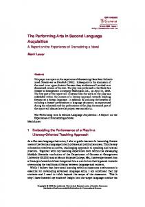 The Performing Arts in Second Language Acquisition