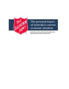 The personal impact of Australia s current economic situation