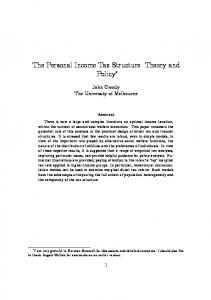 The Personal Income Tax Structure: Theory and Policy