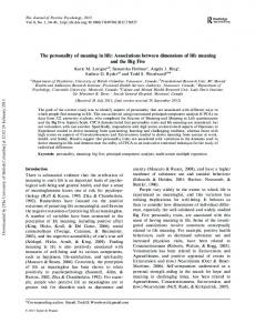 The personality of meaning in life: Associations between dimensions of life meaning and the Big Five