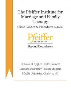 The Pfeiffer Institute for Marriage and Family Therapy