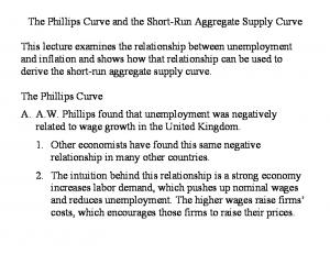The Phillips Curve and the Short-Run Aggregate Supply Curve