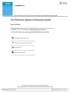 The Phonemic System of Damascus Arabic