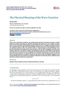 The Physical Meaning of the Wave Function