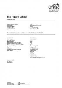 The Piggott School. Inspection report. Unique Reference Number Local Authority Inspection number Inspection dates Reporting inspector