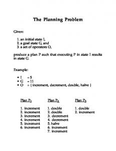 The Planning Problem