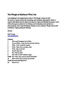 The Plough at Bolnhurst Wine List