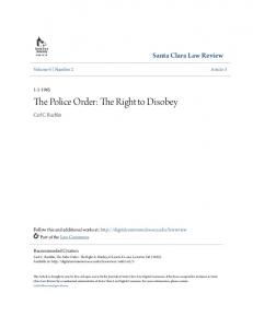 The Police Order: The Right to Disobey