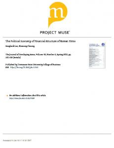 The Political Economy of Financial Structure of Korean Firms