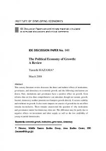 The Political Economy of Growth: A Review