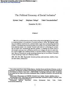 The Political Economy of Social Inclusion