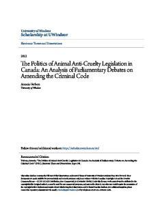 The Politics of Animal Anti-Cruelty Legislation in Canada: An Analysis of Parliamentary Debates on Amending the Criminal Code