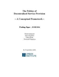 The Politics of Decentralized Service Provision. A Conceptual Framework
