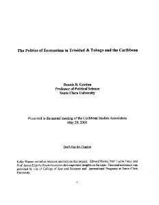 The Politics of Ecotourism in Trinidad & Tobago and the Caribbean