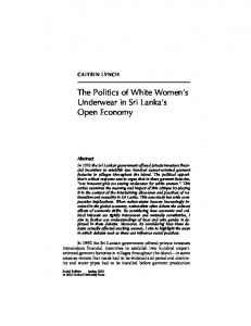 The Politics of White Women s Underwear in Sri Lanka s Open Economy