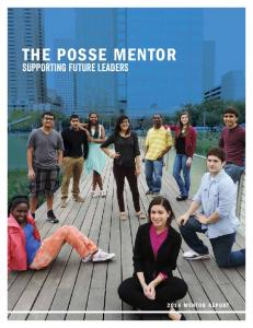 the posse mentor supporting future leaders 2014 mentor report