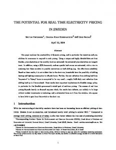 THE POTENTIAL FOR REAL TIME ELECTRICITY PRICING IN SWEDEN