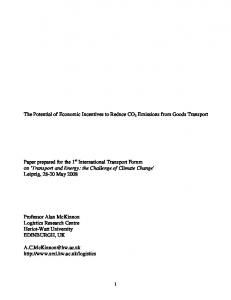 The Potential of Economic Incentives to Reduce CO 2 Emissions from Goods Transport