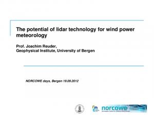 The potential of lidar technology for wind power meteorology