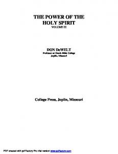 THE POWER OF THE HOLY SPIRIT VOLUME III