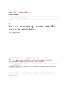 The power of touch during communication within heterosexual married dyads
