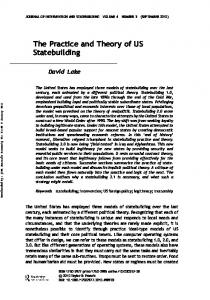 The Practice and Theory of US Statebuilding