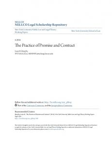 The Practice of Promise and Contract