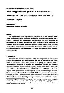 The Pragmatics of yani as a Parenthetical Marker in Turkish: Evidence from the METU