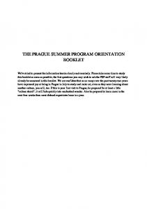 THE PRAGUE SUMMER PROGRAM ORIENTATION BOOKLET
