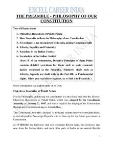 THE PREAMBLE - PHILOSOPHY OF OUR CONSTITUTION