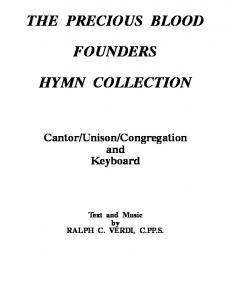 THE PRECIOUS BLOOD FOUNDERS HYMN COLLECTION