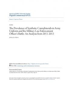 The Prevalance of Synthetic Cannabinoids in Army Uniform and the Military Law Enforcement Officer's Battle: An Analysis from