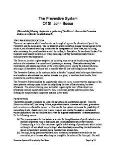 The Preventive System Of St. John Bosco