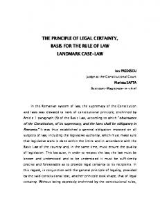 THE PRINCIPLE OF LEGAL CERTAINTY, BASIS FOR THE RULE OF LAW LANDMARK CASE-LAW