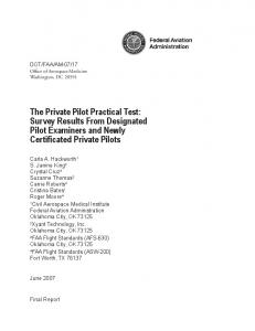 The Private Pilot Practical Test: Survey Results From Designated Pilot Examiners and Newly Certificated Private Pilots
