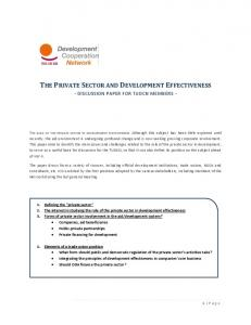 THE PRIVATE SECTOR AND DEVELOPMENT EFFECTIVENESS