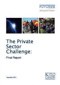 The Private Sector Challenge: Final Report