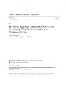The Private Securities Litigation Reform Act and Particularity: Why Are Some Courts in an Alternate Universe?