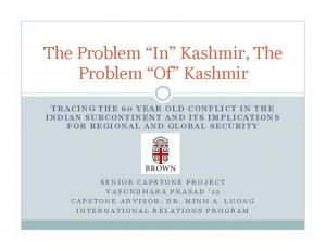 The Problem In Kashmir, The Problem Of Kashmir