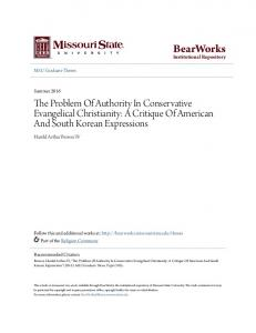 The Problem Of Authority In Conservative Evangelical Christianity: A Critique Of American And South Korean Expressions