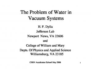 The Problem of Water in Vacuum Systems