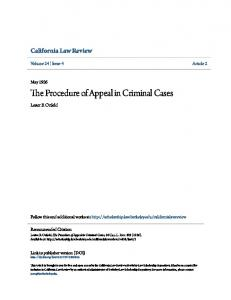 The Procedure of Appeal in Criminal Cases